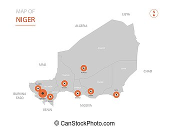 Niger map with administrative divisions. - Stylized vector...