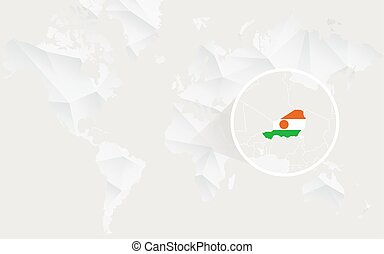 Niger map with flag in contour on white polygonal World Map....