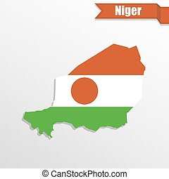 Niger map with flag inside and ribbon