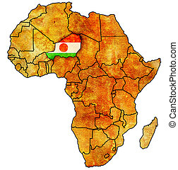niger on actual map of africa - niger on actual vintage...