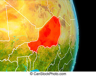 Niger on Earth - Niger in red on planet Earth with visible...