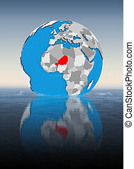 Niger on globe in water