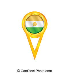 Gold pin with the national flag of Niger