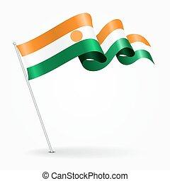 Niger pin wavy flag. Vector illustration. - Niger pin icon...
