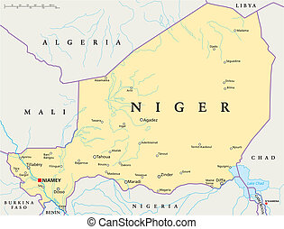Niger Political Map with capital Niamey, national borders,...