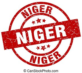 Niger red round grunge stamp