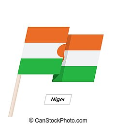 Niger Ribbon Waving Flag Isolated on White. Vector...