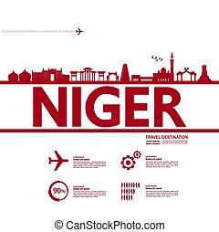 Niger travel destination grand vector illustration.