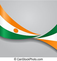 Niger wavy flag. Vector illustration. - Niger flag wavy...