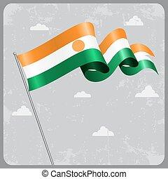 Niger wavy flag. Vector illustration. - Niger flag wavy...