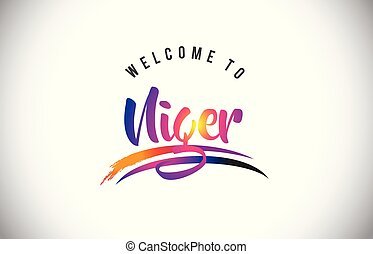Niger Welcome To Message in Purple Vibrant Modern Colors.