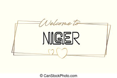 Niger Welcome to text Neon lettering typography. Word for logotype, badge, icon, postcard, logo, banner Vector Illustration.