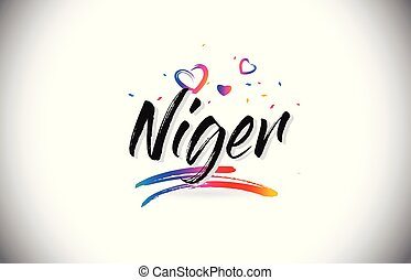 Niger Welcome To Word Text with Love Hearts and Creative...