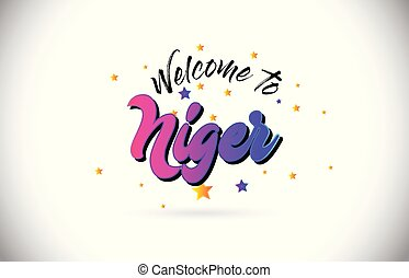 Niger Welcome To Word Text with Purple Pink Handwritten Font...