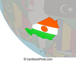 Niger with flag illustration - Map of Niger on political...