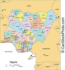 Nigeria, Administrative Districts, Capitals and Surrounding...