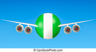 Nigeria airlines and flying's concept. 3D rendering