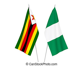 Nigeria and Zimbabwe flags - National fabric flags of ...