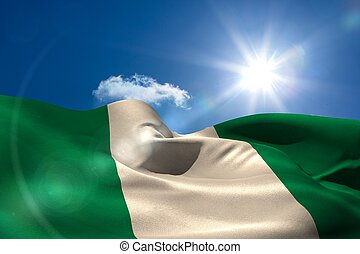 nigeria, bandera nacional, debajo, soleado, cielo