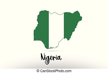 Nigeria country flag inside map contour design icon logo
