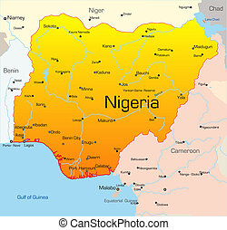 Nigeria country - Abstract vector color map of Nigeria...