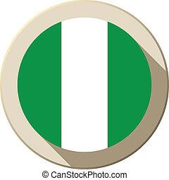 Nigeria Flag Button Icon Modern