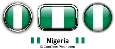 Nigeria flag buttons, 3d shiny vector icons.