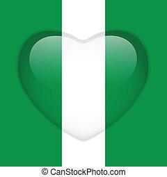Nigeria Flag Heart Glossy Button