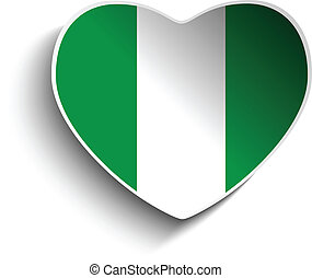 Nigeria Flag Heart Paper Sticker