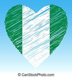 Nigeria flag, Heart shape, grunge style.