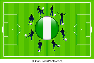 Nigeria Flag Icon Internet Button with Soccer Match