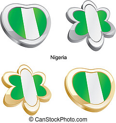 nigeria flag in heart and flower