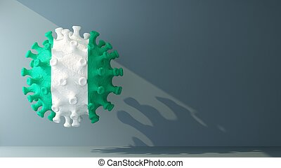 Nigeria flag on covid-19 virus with copy space