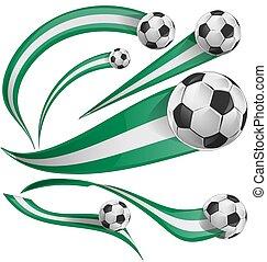 nigeria flag set with soccer ball