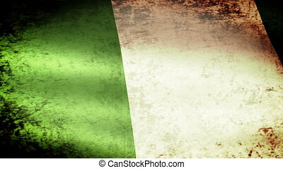 Nigeria Flag Waving, grunge look