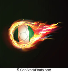 Nigeria flag with flying soccer ball on fire isolated black background, vector illustration