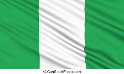 Nigeria flag, with real structure of a fabric