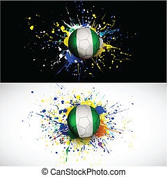 Nigeria flag with soccer ball dash on colorful background