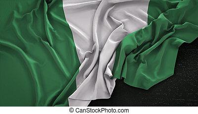Nigeria Flag Wrinkled On Dark Background 3D Render