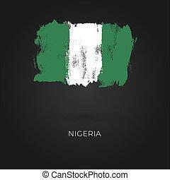 Nigeria grunge vector flag isolated on dark background.