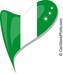 nigeria in heart. Icon of nigeria national flag. vector