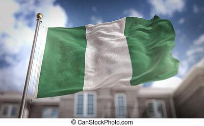 nigeria läßt, 3d, übertragung, auf, blauer himmel, gebäude, hintergrund