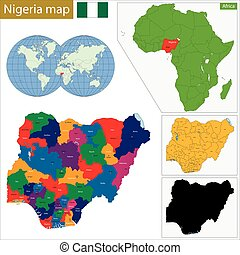 Nigeria map - Administrative division of the Federal...