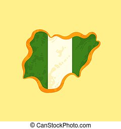 Nigeria - Map colored with Nigerian flag