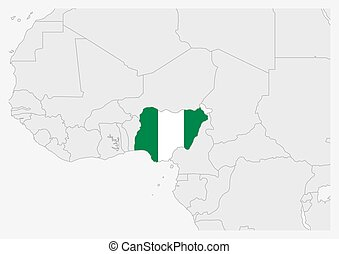Nigeria map highlighted in Nigeria flag colors, gray map with neighboring countries.