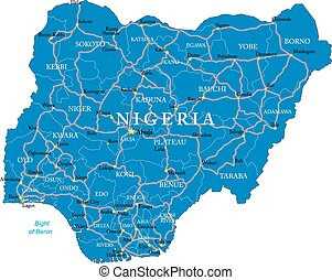 Nigeria map - Highly detailed vector map of Nigeria with ...