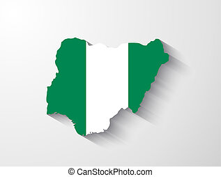 Nigeria map with shadow effect