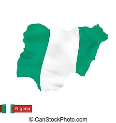 Nigeria map with waving flag of country.