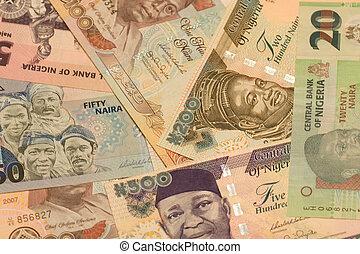nigeria., naira, moeda corrente
