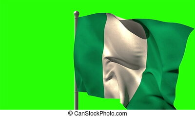 Nigeria national flag waving on fla